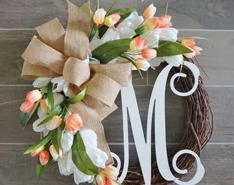 Coral & White Tulip Wreath. Grapevine Wreath. Year Round Wreath. Spring Wreath. Summer Wreath. Monogram Wreath. Door Wreath.
