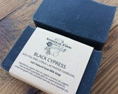 Black Cypress Activated Charcoal Soap - Cold Process Goat's Milk Soap - Body and Facial Soap Bar - All Natural Soap - Essential Oil Soap