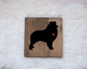 Hand Painted Australian Shepherd Silhouette on Stained Wood, Dog Decor, Dog Painting, Gift for Dog People, New Puppy Gift, Housewarming Gift