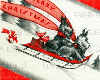 Retro Black Scottie Dogs Sledding Merry Christmas Card #669 Digital Download
