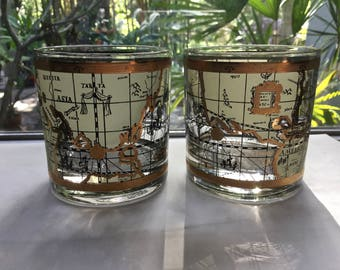 """Cera Glass Co. """"Maps"""" Double Fashioned Glasses.  Old world maps outlined in 22k gold vintage 1985 (set of 2)"""