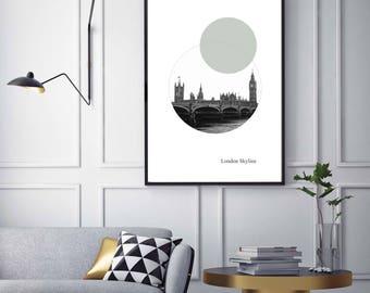 Londres. Westminster, ligne d'horizon, par Kirsten Boston, Giclée, Photo, cadeau, numérique, urbain, Poster, tirage, B & W, A5, A4, A3