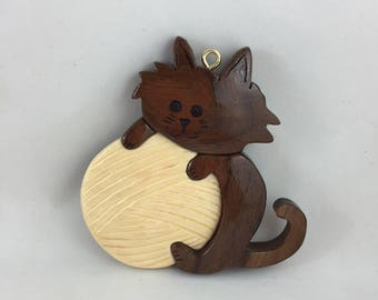 Brown Cat With Yarn Ornament