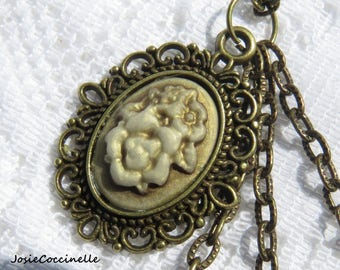 Necklace vintage flower Locket and charms