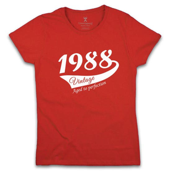 30th Birthday Gift 1988 Vintage T shirt ideal Gift idea for women celebrating thirtieth birthday More colors sizes S-2XL