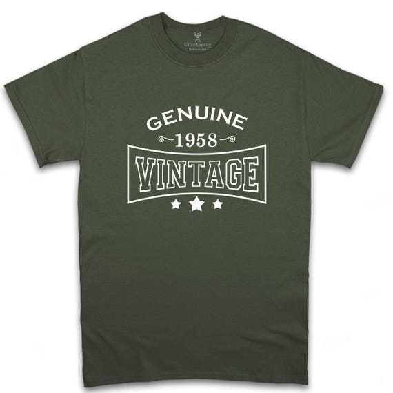 Genuine 1958 Vintage t-shirt, ideal birthday gift for 60th birthday gift for him, be it a father, uncle or brother also ideal for Christmas