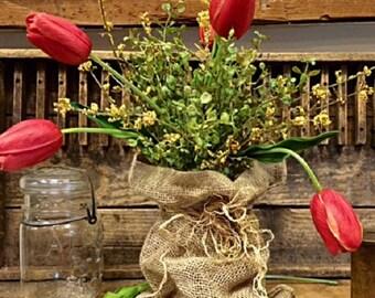 Primitive Spring Tulip Bunch Realistic Hand Tied Bouquet Burlap Bag Centerpiece Beautiful Farmhouse Table Top Decor