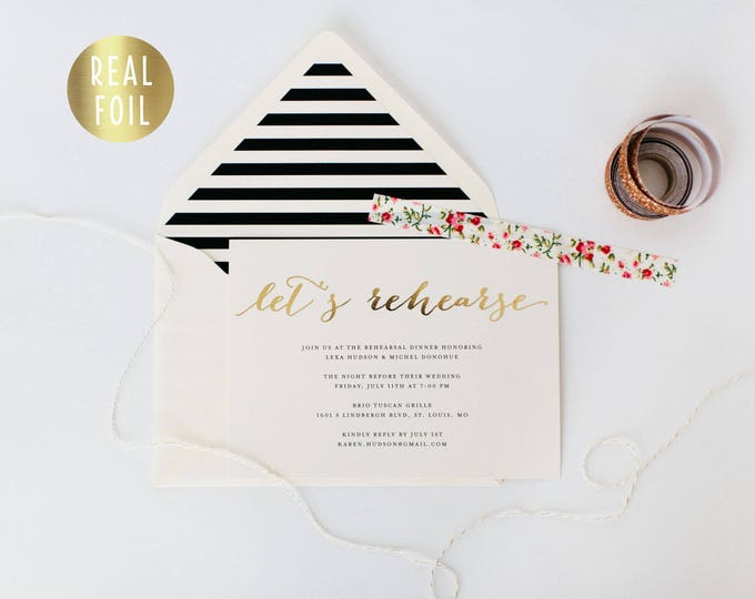 gold foil rehearsal dinner invitation (sets of 10) // gold foil black white stripes modern calligraphy custom luxe invite