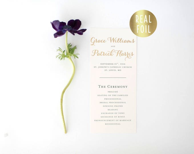 grace gold foil wedding programs (sets of 10)  // gold foil calligraphy romantic custom modern wedding programs
