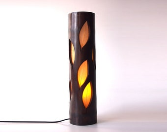 Wood Lamp, Bedside Lamp, Girlfriend Gift, Unique Lamp, Table Lamp, Bamboo Lighting, Leaf Lamp, Ambient Light, Boho Lamp, Bamboo Furniture