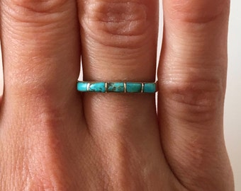 Vintage Zuni Turquoise Band Ring Inlay, Native American Jewelry, Turquoise Jewelry