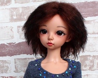 "NEW! Wig ""Black Ombre on Beaujolais"" for Minifee specially / Minifee Wig / Wig 7 inch"