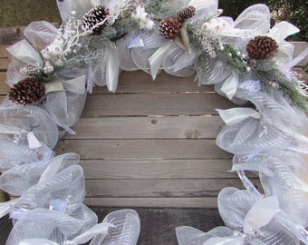 8' Winter Garland Christmas Garland Winter Door Decor Christmas Door Decor Silver Deco Mesh Garland Pine Cone Snowy Mantel Greenery Garland