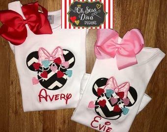 Girl's Valentine Minnie Applique Shirt / Onesie
