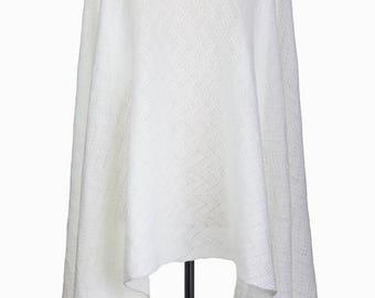 Wedding Shawl, Bridal Scarf, bridal wrap, Knit Shawl, wedding cover up, white shawl, winter shawl, knit wrap, white lace shawl