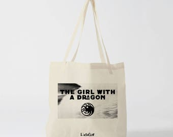 X475Y tote bag the girl with dragon, the girl with the dragon, game of thrones, cotton bag, tote bag, khaleesi dragon, mother of dragons