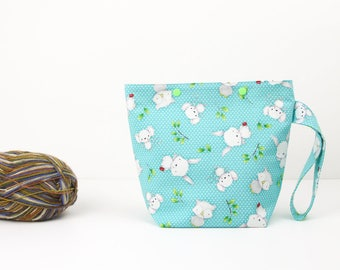 One skein project bag with bunnies, mice and owls, aqua crochet project bag, cute sock knitting bag