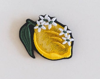 """Embroidered Brooch """"Lemon with flowers"""""""