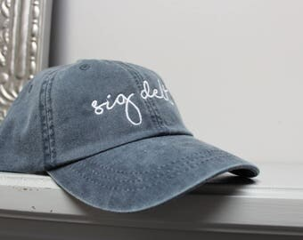 Sigma Delta Tau Navy Hat Embroidered in White Script