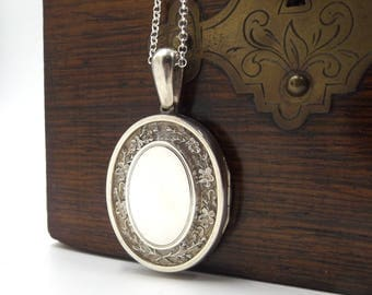 Large Victorian Locket Necklace | Antique Sterling Silver Oval Photo Locket