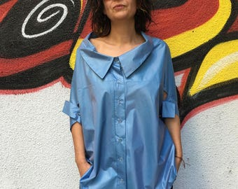Black Minimalist/Assymetrical Lagenlook Blouse/ Quirky Oversized Womens Extravagant Top