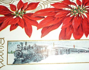 Christmas Train in the Snow With Poinsettias