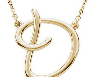 14K Yellow Gold or 14K Rose Gold or 14K White Gold or Sterling Silver Letter D Initial Alphabet Script Necklace 16 inch Custom Made 37586
