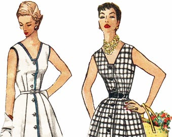 1950s Rockabilly Sundress Pattern V Neck Sun Dress Jumper and Blouse Vintage 50s Sewing Pattern Simplicity 1094 Size 16 Bust 34