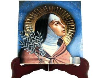 Catholic saints, Saint Clare of Assisi, catholic gift idea, gift for Christian, Ceramic Tile, Santa Chiara, St Clare