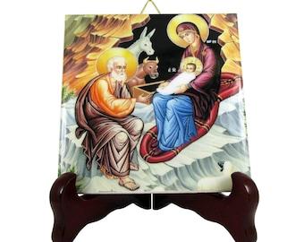 Religious icon on ceramic tile - The Nativity of Jesus - Nativity icon - religious wall art handmade in Italy - christian icons