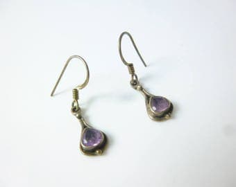 Amethyst Earrings, Sterling Silver Hook Earrings, Purple Earrings, Dainty Earrings, Dangle Earrings, Oxidized Earrings