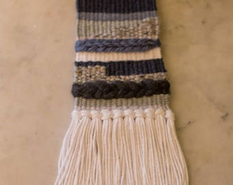 Blue/Gray/White Woven Wall Hanging