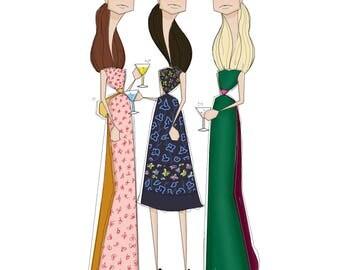 Oscar de la Renta Resort 2017 Fashion Illustration by Paperccino Studio
