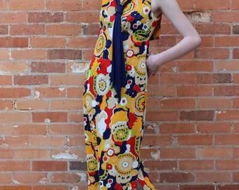 Psychedelic Sailor Algo-Ettes Vintage 1970s Maxi Dress