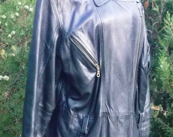 Vintage women's leather coat ,Women leather coat, Black leather coat , YESSICA  C&A  Lamnappa ,European design