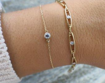 14K Yellow Gold Diamond Tennis Layering Bracelet