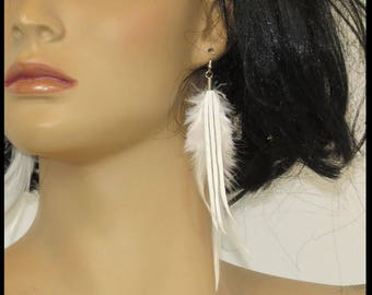 Pastel Goth Earrings WHITE FEATHERS WHiTE LEATHER Gothic Bridal Earrings