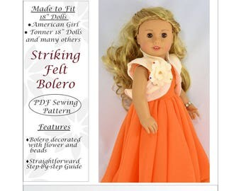 Striking Felt Bolero 18 inch doll clothes pattern, American girl doll clothes pattern, Doll clothes PDF sewing pattern, doll outfit