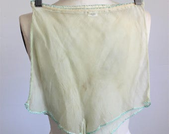Vintage 1980s 1990s Tap Pant / Lore Mint Green Highwaisted Panty Silk Chiffon / High Waist Lingerie Underwear