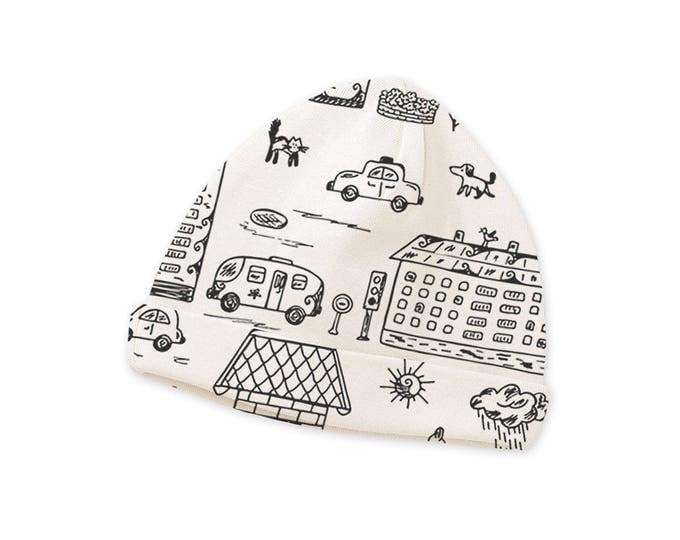 SPRING SALE! Newborn Baby Hat, Newborn Black White Baby Hat, Baby Hat for Girls, Infant Beanies, Cityscape Tesa Babe CP630NH000000