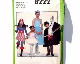 Vintage 70's Simplicity Kids Costumes Sewing Pattern #8222 - Size 10+12 - Ballerina or Tutu+Super Girl+Magician