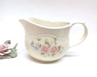"TEA ROSE by PFALTZGRAFF Large, Heavy, 5"" high Ivory Pitcher-Style Gravy Boat Decorated with Soft Pink Roses & Blue Flowers on Front and Back"
