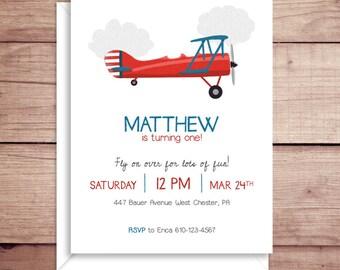 Plane Invitations - Plane Party Invitations - Plane Birthday Party Invitations - Boy Birthday Party Invitations - Vintage Plane Invitations