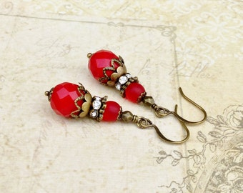 Red Earrings, Antique Gold Earrings, Victorian Earrings, Bridal Earrings, Red Wedding, Czech Glass Beads, Gifts for Her, Unique Earrings