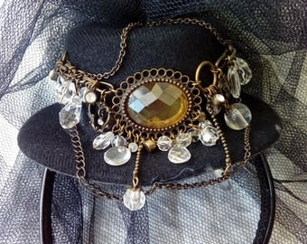 Steampunk Mini Topper on hair band.  Veiled and decorated with matching earrings.