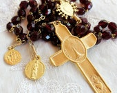 Rosary - French Vintage Wine Cut Glass - Eucharist - Marie Madeleine & Saintes Maries - 18K Gold Vermeil
