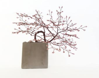 Wire Tree Sculpture -Cherry Blossom - Bonsai Tree