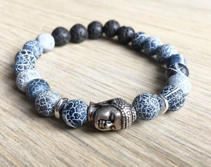 Lava Agate Bracelet, Buddha Bracelet, Essential Oil, Aromatherapy, Yoga Bracelet, Meditation, Chakra Healing, Stretch Cord