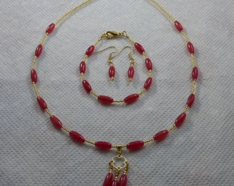 Coral Necklace, Bracelet, and Earring Jewelry Set