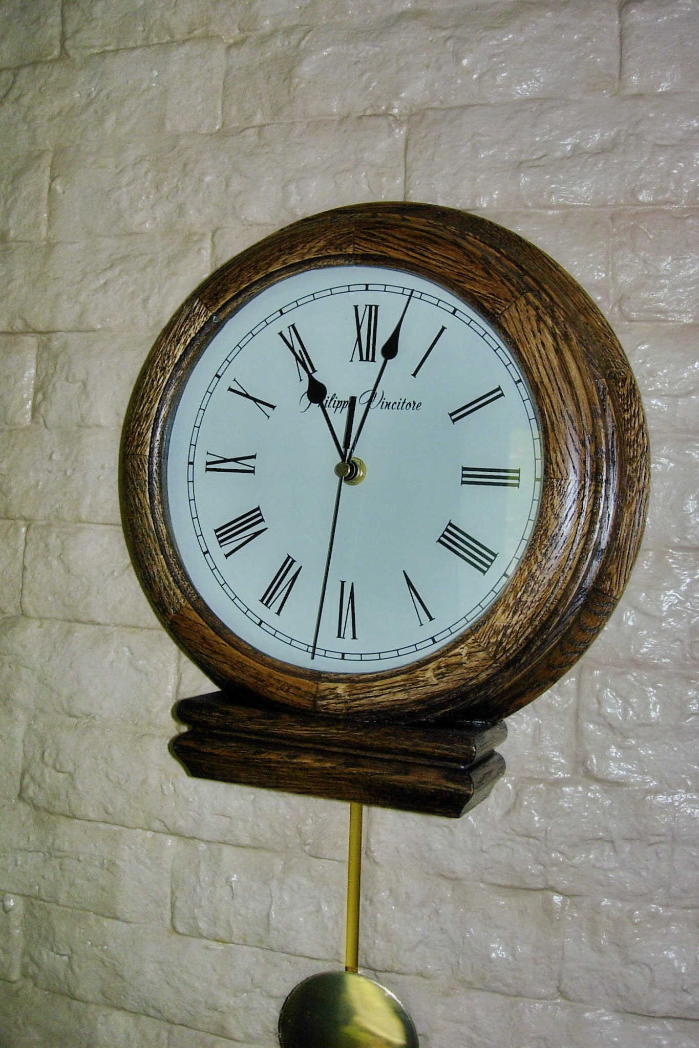 Wall Clock Modern With Pendulum From Oak